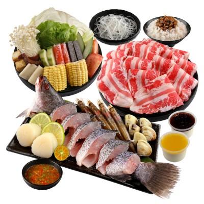 海陸雙拼鮮食鍋 (雪花牛)