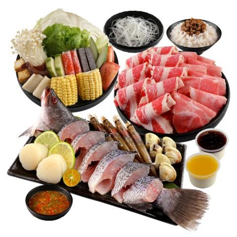 海陸雙拼鮮食鍋 (牛+豬)